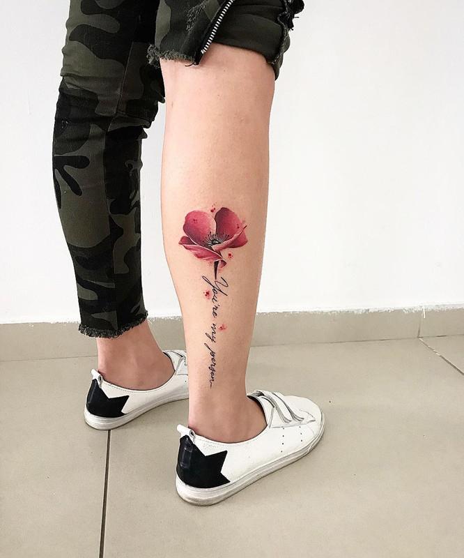 路先生小腿罂粟花英文字纹身图案