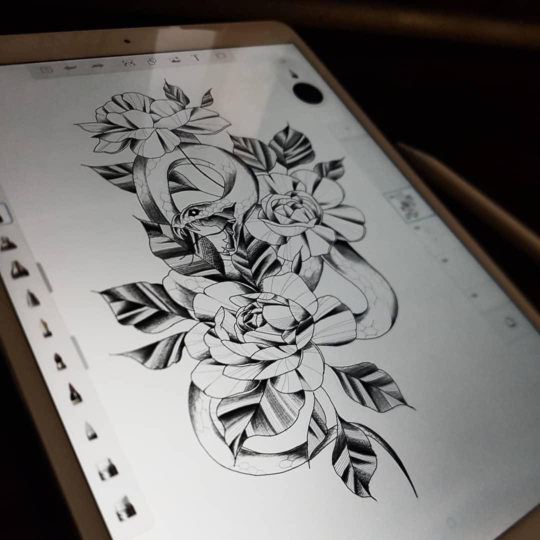做语文老师的盖先生玫瑰蛇纹身手稿