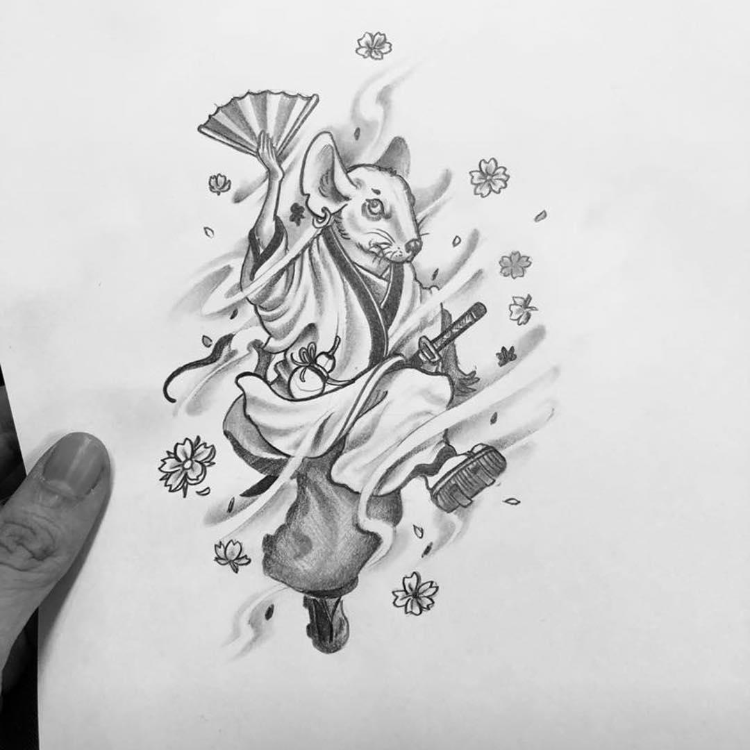 日式鼠先生纹身手稿