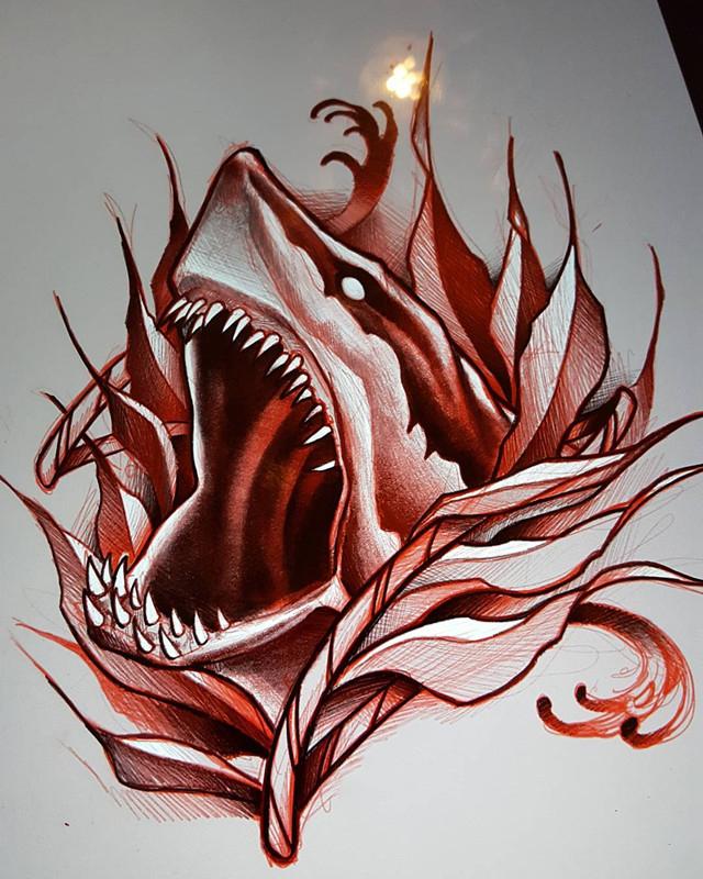 鲨鱼纹身手稿