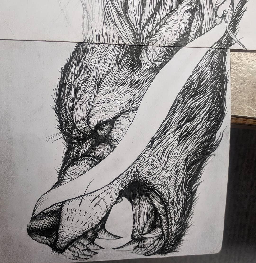 狼首纹身手稿